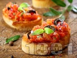 Брускети с домати, зехтин и маслини - снимка на рецептата